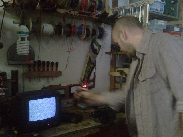 Matt testing the hand crank to power the telly