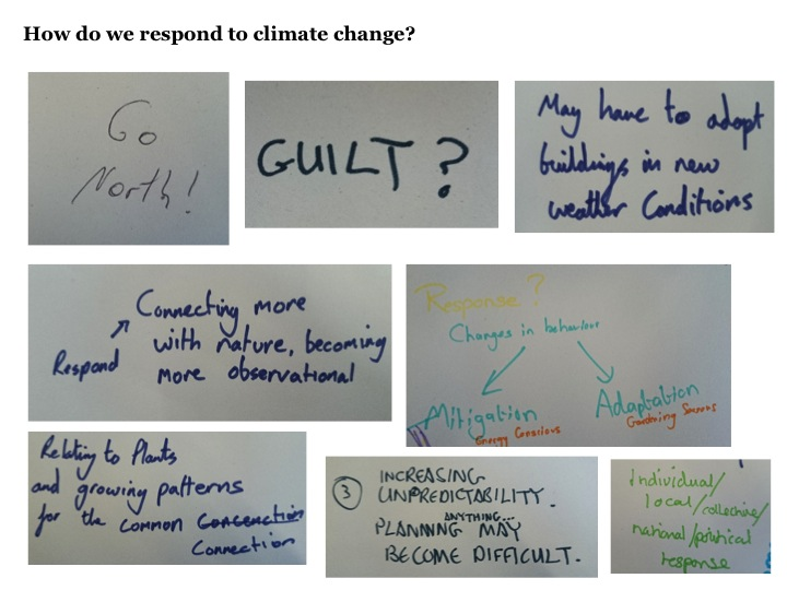 how do we respond to climate change? - go north, guilt, may have to adapt buildings in new weather conditions, connecting more with nature, becoming more observational, changes in behaviour mitigation and adaptation, relating to plants and growing patterns for the common connection, increasing unpredictability planning anything may become difficult, individual local/collective/national/political response