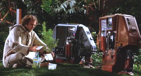 image from Silent Running (film) of Bruce Dern with two of the robots planting
