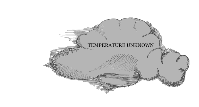 a sketch of a cloud with temperature unknown across it